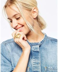 ASOS | Metallic Circle And Square Ring Pack | Lyst