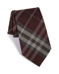 Burberry - Brown 'clinton' Woven Silk & Wool Tie for Men - Lyst