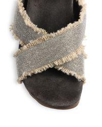 Brunello Cucinelli - Brown Beaded Frayed Criss-Cross Slide Sandals - Lyst