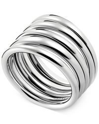 Calvin Klein | Gray Stainless Steel Polished Ribbed Ring | Lyst