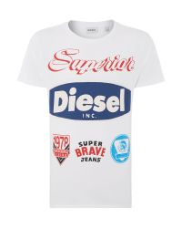 DIESEL | White Badges Graphic T-shirt for Men | Lyst