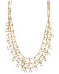 Anne Klein | Metallic Gold-tone Crystal Three-row Necklace | Lyst