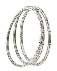 John Hardy - Metallic 3-pack Silver Bangle Bracelets - Lyst