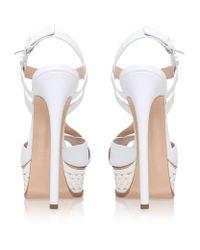 Casadei - White Isabella Leather Platform Sandal - Lyst
