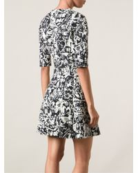 Carven - Black Printed Crepe Dress - Lyst