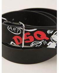 DSquared² - Black Graffiti Print Belt - Lyst