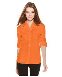 Calvin Klein - Orange Roll-tab-sleeve Mixed-media Blouse - Lyst