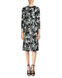 Erdem - Black Viv Collared Bracelet-sleeve Dress - Lyst