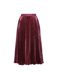 Christopher Kane | Purple Metallic Pleated Midi Skirt | Lyst