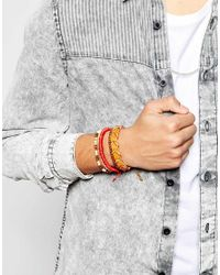 ASOS | Red Leather And Woven Bracelet Pack for Men | Lyst
