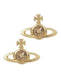 Vivienne Westwood | Metallic Nano Solitaire Gold Tone Swarovski Earrings | Lyst
