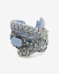 Barbara Bui - Blue Crystal Detail Leather Bracelet - Lyst