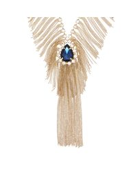 River Island - Metallic Gold Tone Statement Fringe Gemstone Necklace - Lyst
