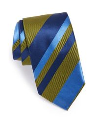 David Donahue | Green Stripe Silk & Cotton Tie for Men | Lyst