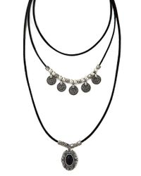 Forever 21 - Black Faux Stone Layered Necklace - Lyst