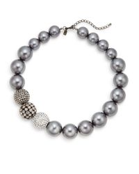 Kenneth Jay Lane - Gray Fireball Beaded Collar Necklace - Lyst