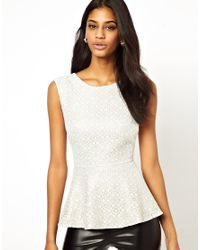 Little Mistress | Natural Embroidered Lace Overlay Peplum Top | Lyst
