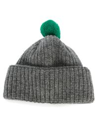 Paul Smith - Gray Pompom Beanie for Men - Lyst