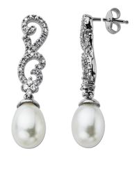 Lord & Taylor | Pearl And Diamond Drop Earrings In 14 Kt. White Gold 0.22 Ct. T.w. 8mm | Lyst