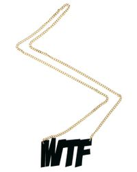 ASOS - Black Wtf Necklace for Men - Lyst