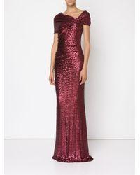 Badgley Mischka - Purple Long Sequinned Dress - Lyst