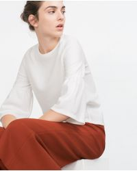 Zara | White Bell Sleeve Top | Lyst