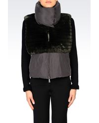 Emporio Armani | Green Satin Finish Down Jacket With Faux Fur Gilet | Lyst