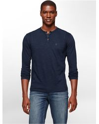 Calvin Klein - Blue Jeans Slim Fit Garment Dye Long Sleeve Henley for Men - Lyst