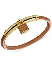 Michael Kors | Brown Gold-Tone Leather Padlock Bangle Bracelet | Lyst
