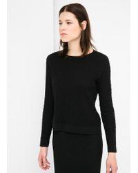 Mango - Black Textured Fine-Knit Sweater - Lyst