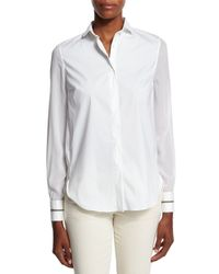 Brunello Cucinelli - White Poplin Button-down Shirt - Lyst
