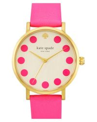 kate spade new york | Metallic 'metro' Dot Dial Leather Strap Watch | Lyst