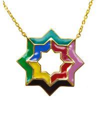 Leivan Kash - Metallic 'yas' Enamel Necklace - Lyst