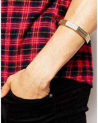 ASOS | Metallic Gold Plated Embossed Arm Cuff for Men | Lyst