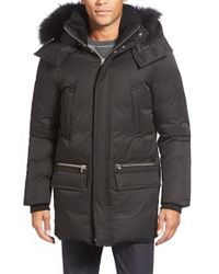 Mackage Black Water Resistant 725-fill Power Down Parka With Genuine Fox Fur & Shearling Trim for men