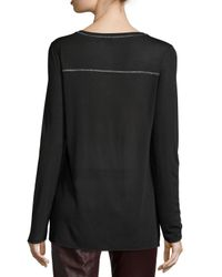 Vince - Black Long-sleeve Round-neck Top - Lyst