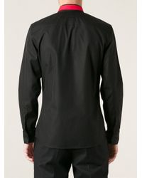 Givenchy - Black Embroidered Collar Shirt for Men - Lyst