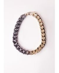 Missguided | Metallic Two Tone Chain Necklace | Lyst