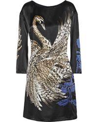 Just Cavalli - Black Printed Silk-Satin Mini Dress - Lyst