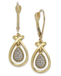 Macy's | Metallic Diamond (1/10 Ct. T.w.) Teardrop Earrings In 10k Gold | Lyst