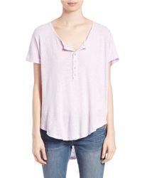 Free People | Purple Linen-blend Henley | Lyst