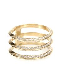Ileana Makri - Metallic 18kt Yellow Gold Triple Disc Ring With White Diamonds - Lyst