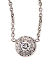 Roberto Coin | 18k White Gold Pave Diamond Pendant Necklace | Lyst