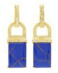 Rachel Zoe - Gold-tone  Blue Square Drop Earrings - Lyst