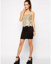 Club L - Metallic Dress With Scalloped Sequin Overlay - Lyst