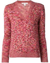 Carven - Red Knit V Neck Sweater - Lyst