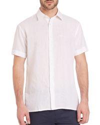 Ferragamo - White Solid Linen Sportshirt for Men - Lyst
