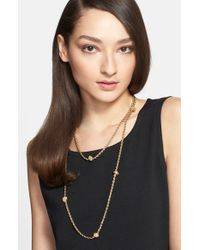 St. John | Metallic Boucle Knot Long Necklace - Light Gold | Lyst