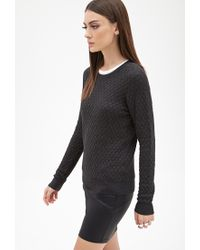 Forever 21 | Black Honeycomb-quilted Sweater | Lyst
