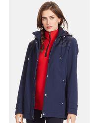 Lauren by Ralph Lauren - Blue Quilt Trim Soft Shell Jacket With Detachable Hood - Lyst